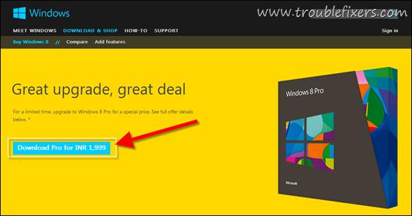 Download Windows 8 Pro For Rs. 2000