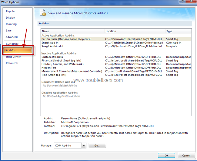 Emable or Disable MS Office Add-Ins (3)