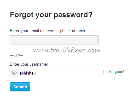 Forgot Password Twitter