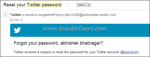 Twitter Account Password Reset Request