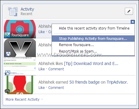 delete facebook activity trace