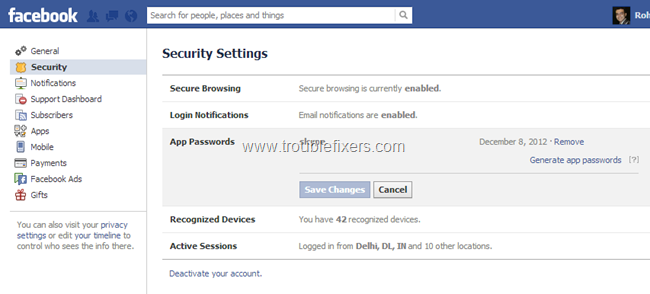 Set Facebook App Password (9)