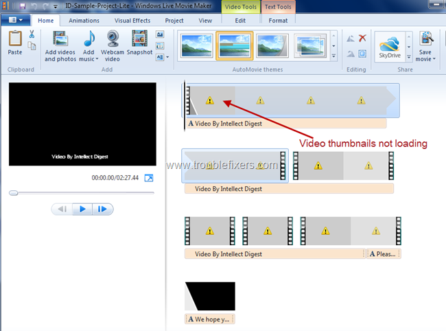 Windows Thumbnails dont load in windows movie maker