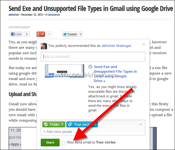share a google  post via email