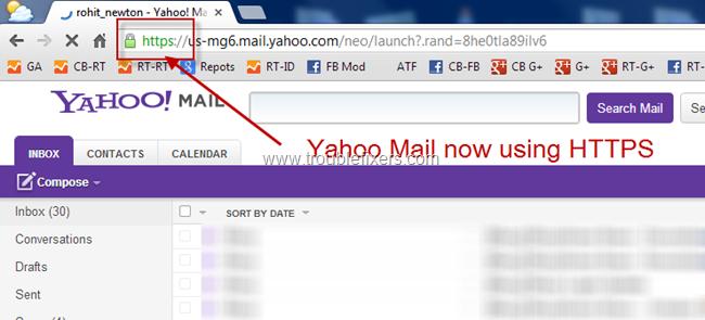 Yahoo Mail HTTPS SSL Turned On
