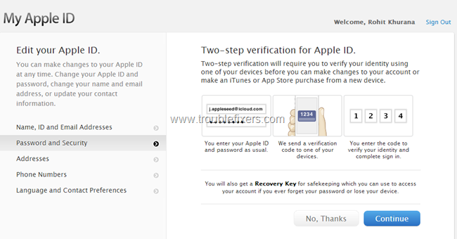 set up apple 2 step verification