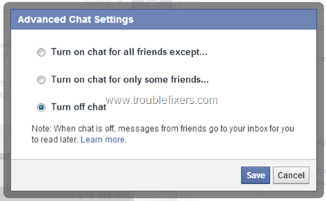 Disable or Enable Facebook Chat  (2)