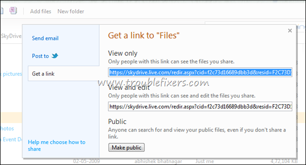 Link To Download Skydrive File or Folder