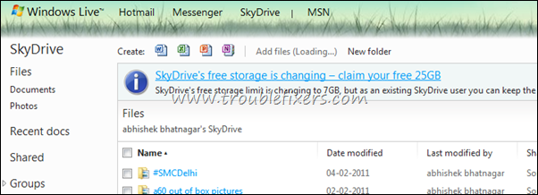 Free Upgrade 7Gb To 25Gb Storage On Skydrive