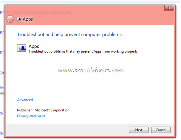 windows 8 apps troubleshooter tool