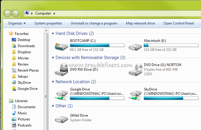 Add Google Drive, SkyDrive Shortcut In My Computer Windows Explorer
