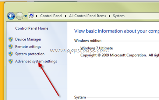 advanced windows 7 settings