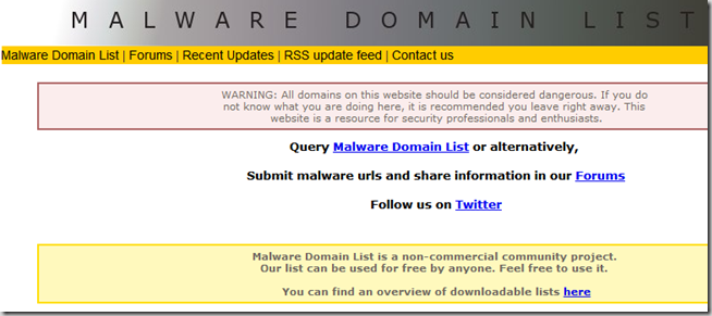 malware domain list