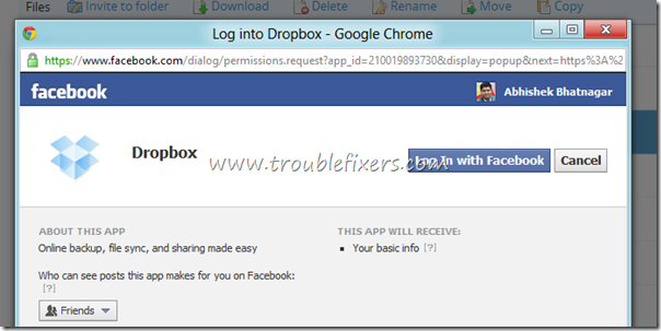 dropbox facebook connect