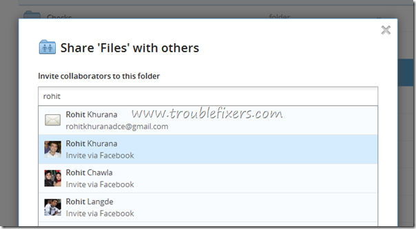 invite facebook friend to dropbox