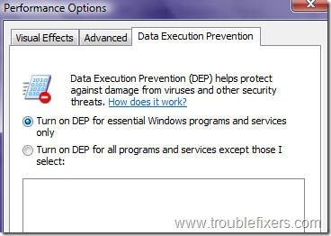 DEPdefualtsettings thumb - [ Fixed ] Data Execution Prevention Error In Windo