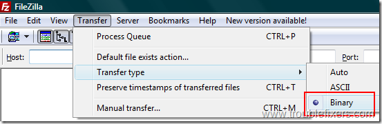change-filezilla-transfer-mode-to-binary