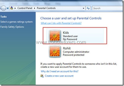 selectaccountforparentalcontrol thumb - Restrict Computer Usage In Windows Vista
