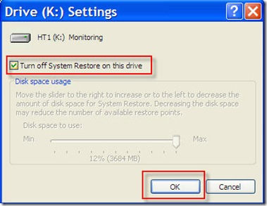 check turn off restore on this drive and click ok