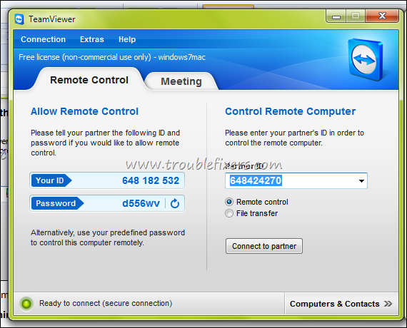 remote control to windows 7 starter