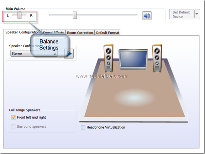 sound card balance settings