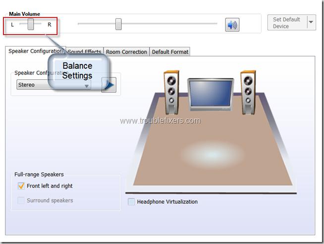 sound card balance settings