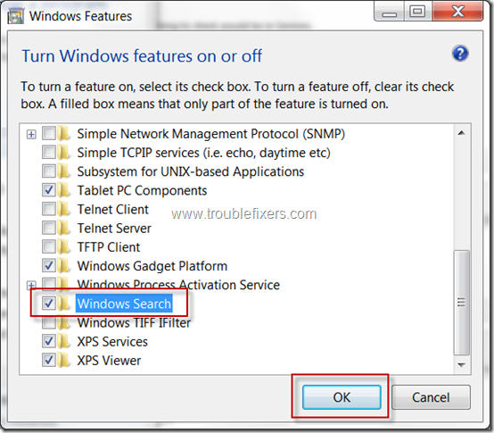 Install Windows 7 Search Option