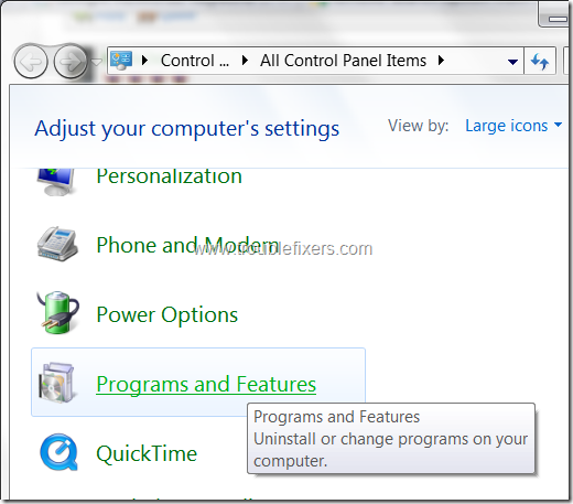 windows 7 programs and features
