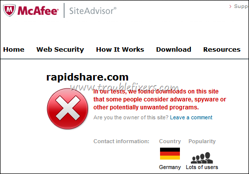 site report mcafee