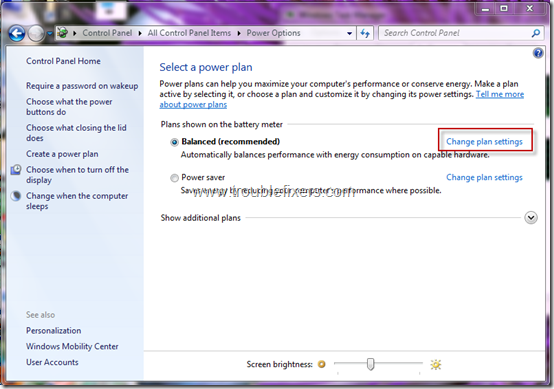 windows 7 laptop settings