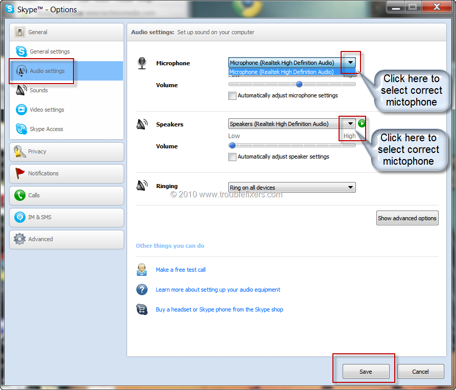 Mic Not Working With Skype Voice Call - TroubleFixers