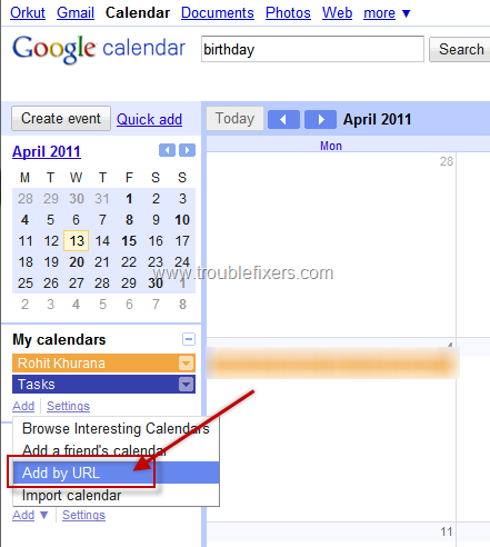 Add Orkut, Facebook and Google Contacts Birthday Calendar To