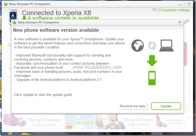 Sony Ericsson Xperia X8 Official Firmware Update To Android