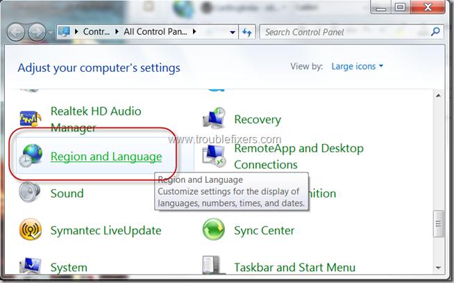 Region and Language Settings in Windows