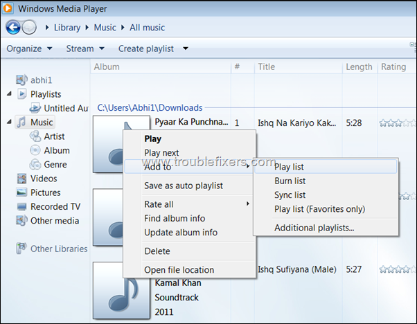 create playlist of songs
