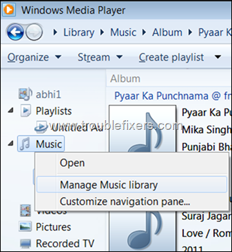 manage music library windows media player