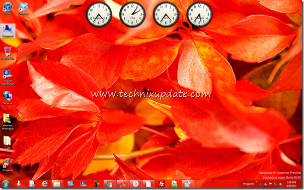 Windows Desktop Showing Time Of Different Countries Time Zones With Multiple Clocks Time