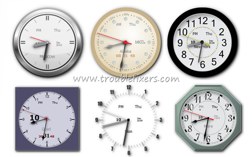 Windows Desktop Showing Time, Date Of Different Countries