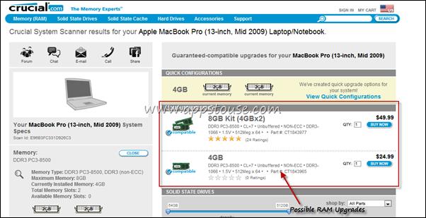 Compatible RAM Upgrades