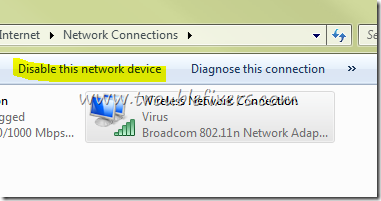 Disable Enable Wireless Network