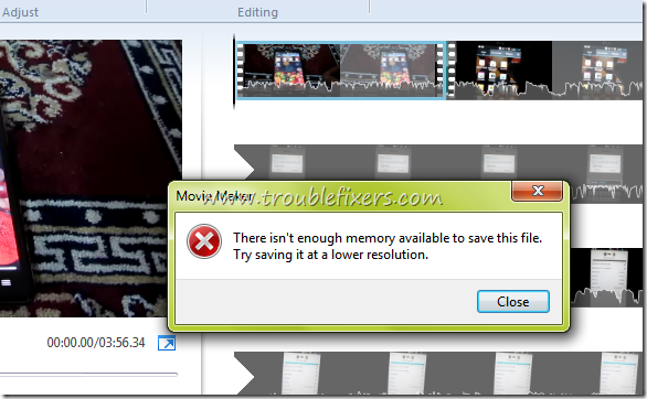 memory isnt available to save this file