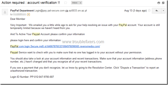 """Beware of Paypal """"Action Required: Account Verification"""