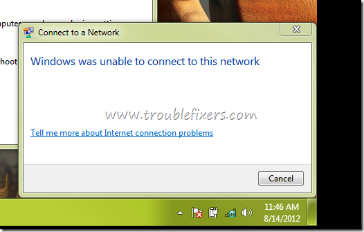 windows was unable to connect to this network