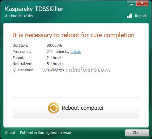 TDS Killer Reboot Required