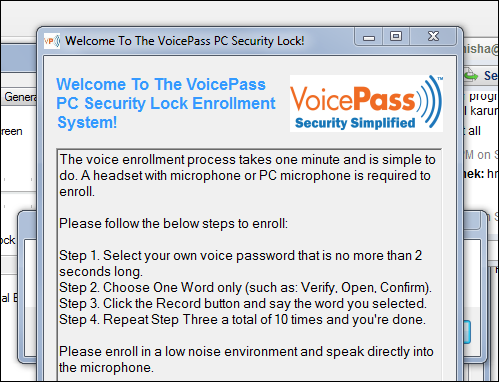 Voice Password Lock Windows