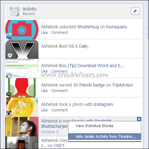 Hide Facebook Friend Added or Page Liked From Wall