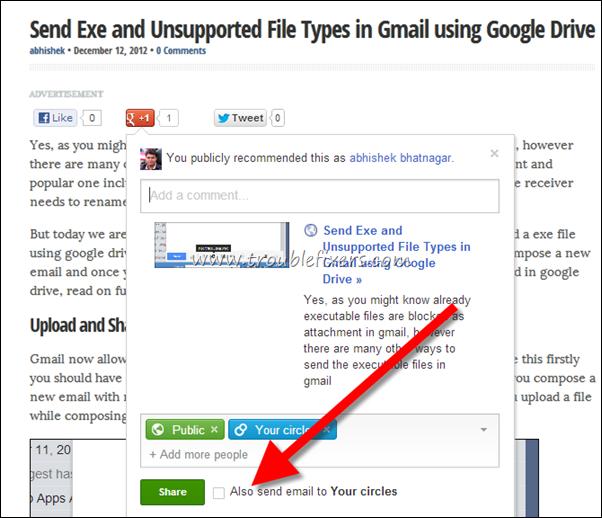 share a google  post via email