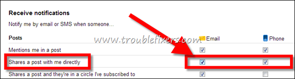 stop google  shares post via email