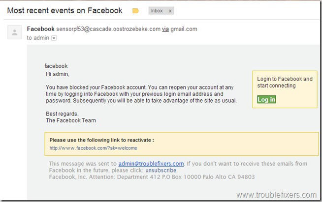 Facebook Blokced Warning