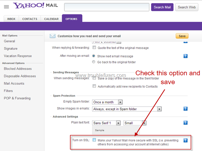 Turn On SSL on Yahoo Mail